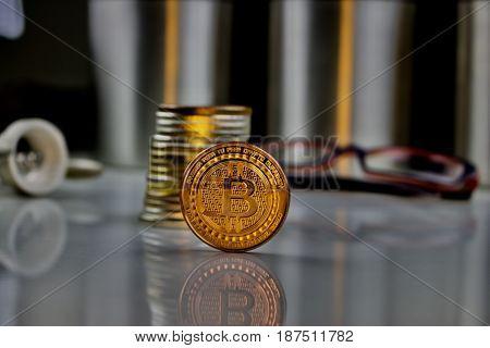 Gold Bitcoin Coin Composition