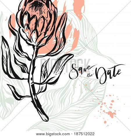 Hand drawn vector abstract modern boho tropical minimalistic save the date card template with exotic palm leaves and flower protea composition.Poster design, card, invitation, placard.