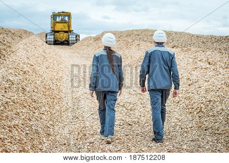 paper mill factory workers inspecting wooden raw material