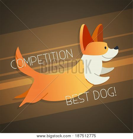Dog - modern vector phrase flat illustration. Cartoon animal character. Gift image of corgi jumping with words competition.