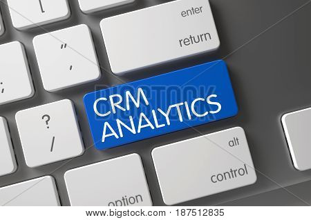 CRM Analytics Concept: Computer Keyboard with CRM Analytics, Selected Focus on Blue Enter Keypad. 3D.