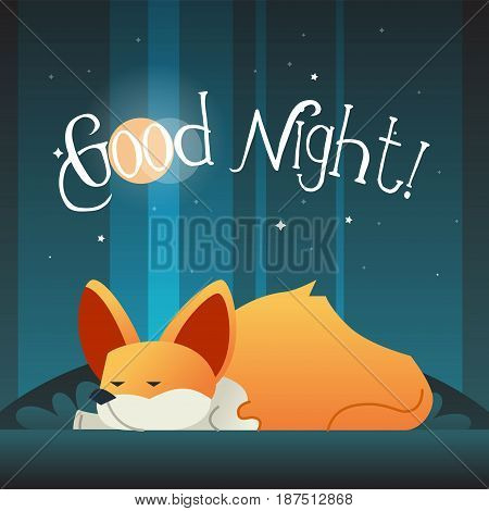 Dog - modern vector phrase flat illustration. Cartoon animal character. Gift image of corgi sleeping wishing good night.