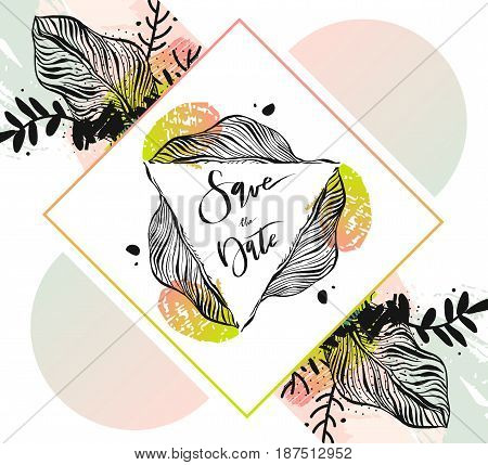 Hand drawn vector abstract modern tropical minimalistic save the date card template with exotic palm leaf in pastel colors.Wedding, marriage, save the date, baby shower bridal, birthday,