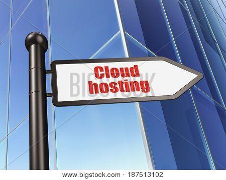Cloud technology concept: sign Cloud Hosting on Building background, 3D rendering
