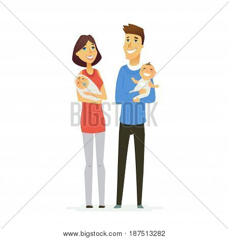 Family - colored vector modern flat illustration composition of cartoon people characters. Father, mother, two cute babies. United and happy.