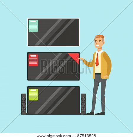 Young man choosing TV in appliance store colorful vector Illustration, cartoon character