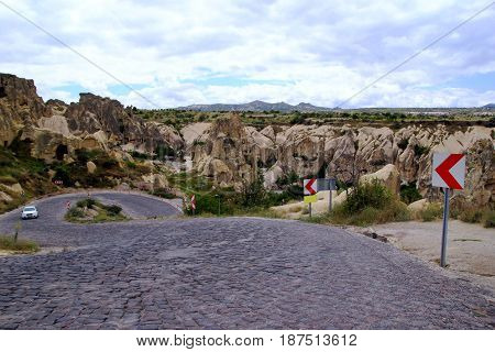 Travel To Cappadocia, Turkey. The Winding Road In The Mountains.
