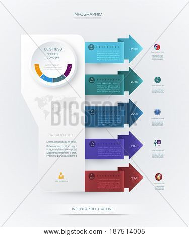 Vector infographics timeline design template with 3D paper label and graph 6 steps options. For workflow, layout, diagram, infograph, business, infographic, flowchar,t process diagram, time line, chart