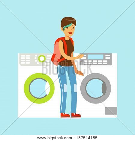 Young woman choosing new clothes washer. Appliance store colorful vector Illustration cartoon characters