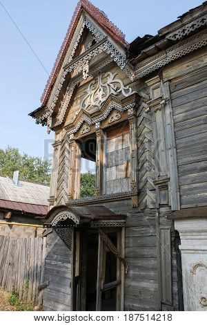 Abandoned old wooden house in Russian province