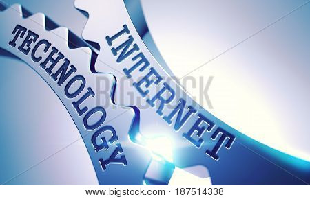 Internet Technology on the Mechanism of Metallic Cogwheels. Communication Concept in Technical Design. Inscription Internet Technology on the Shiny Metal Gears - Interaction Concept. 3D Illustration .