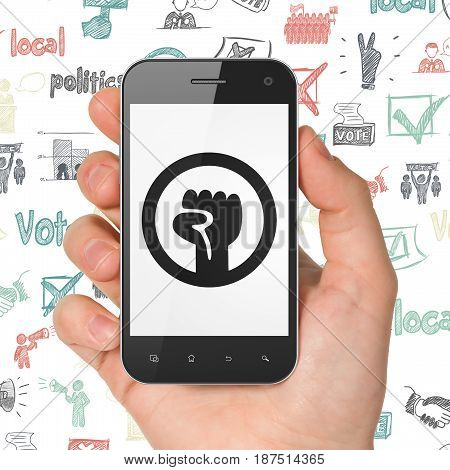 Politics concept: Hand Holding Smartphone with  black Uprising icon on display,  Hand Drawn Politics Icons background, 3D rendering
