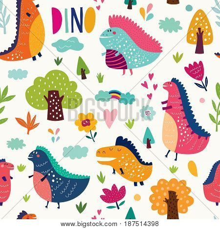 Seamless pattern with funny dinosaurs in nature