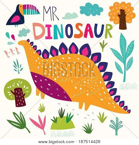 Vector illustration with funny dinosaur in nature