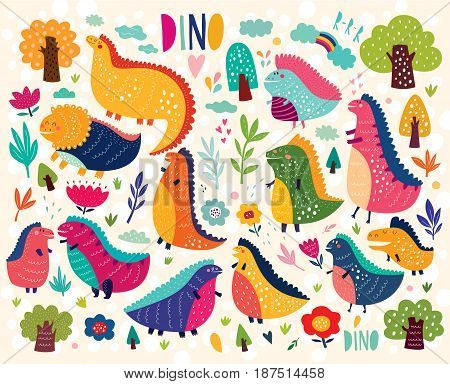 Vector illustration with funny dinosaurs in nature