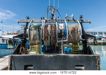 Rear of the trawler with the nets reels