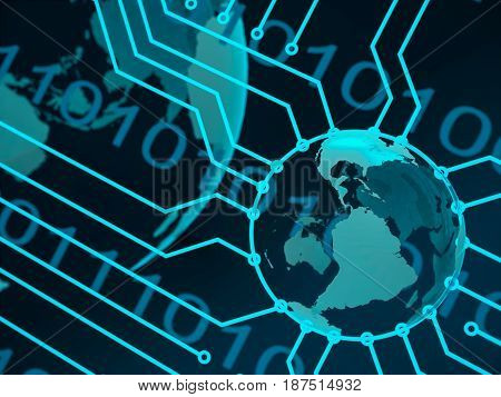 Blue Technology Background Circuit Board, Earth, Digits. 3D Illustration