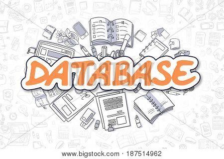 Database - Hand Drawn Business Illustration with Business Doodles. Orange Word - Database - Doodle Business Concept.