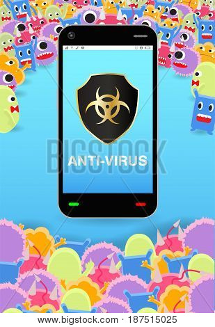 virus siege smartphone with antivirus protection shield