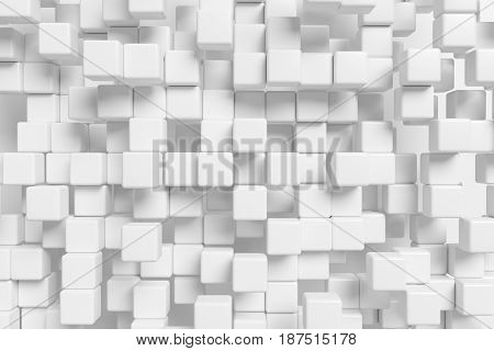 Abstract white graphic background made of many white cubes in front view 3d illustration for different conceptual graphic design projects