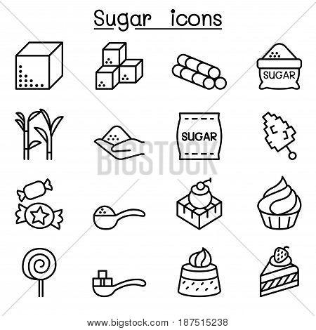 Sugar icon set in thin line style Vector illustration Graphic design
