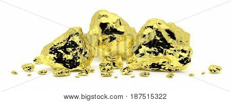 Many golden nuggets close-up isolated on white background. Gold ore in its origin as pieces of gold. 3D illustration
