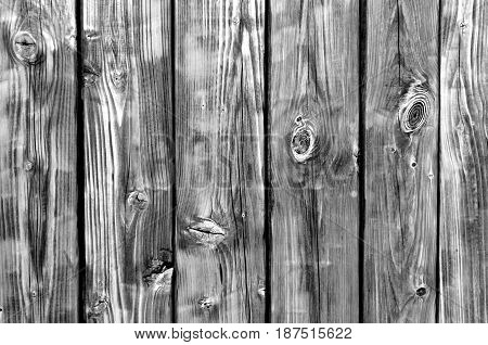 Black And White Color Wood Fence Pattern.