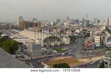 BANGKOK THAILAND - MAY 20 : skyline and traffic at Hua Lumphong railway station in heart of bangkok on may 20 2017 in bangkok thailand