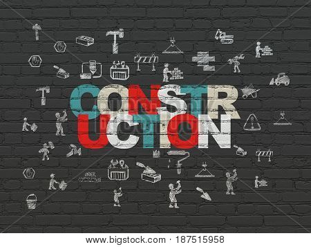 Building construction concept: Painted multicolor text Construction on Black Brick wall background with  Hand Drawn Building Icons