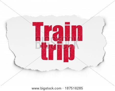 Vacation concept: Painted red text Train Trip on Torn Paper background with  Tag Cloud