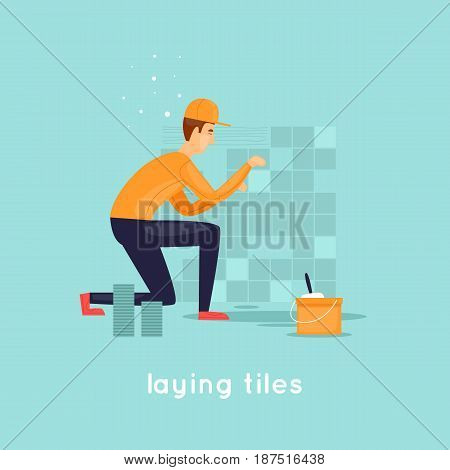 Laying tiles. Character. Flat design vector illustration.