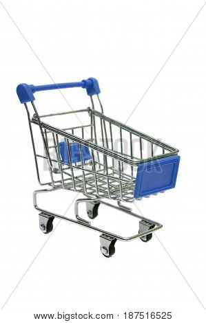 miniature blue trolley supermarket isolated on white background