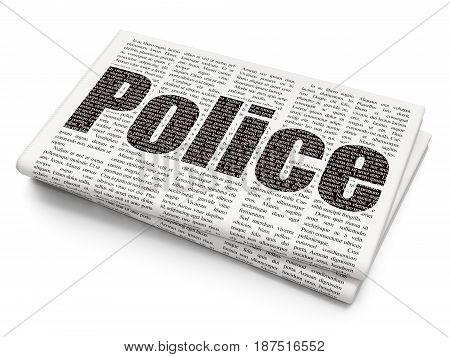 Law concept: Pixelated black text Police on Newspaper background, 3D rendering