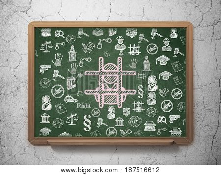 Law concept: Chalk Pink Criminal icon on School board background with  Hand Drawn Law Icons, 3D Rendering