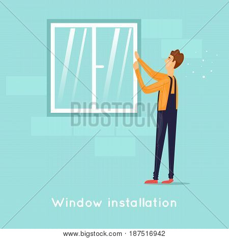 Installing windows. Character. Flat design vector illustration.