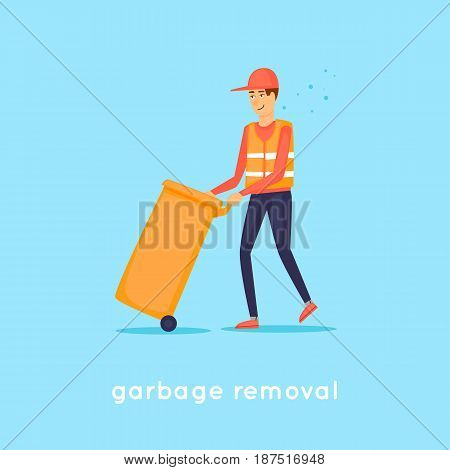 Garbage collection. Character. Flat design vector illustration.