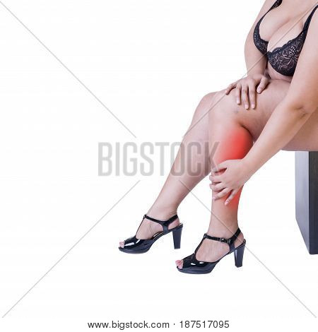 Leg pain fat woman with muscle ache overweight female body isolated on white background with red spots