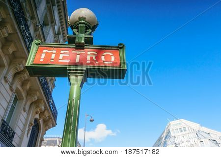 Paris France - May 2 2017: The Sign pole of