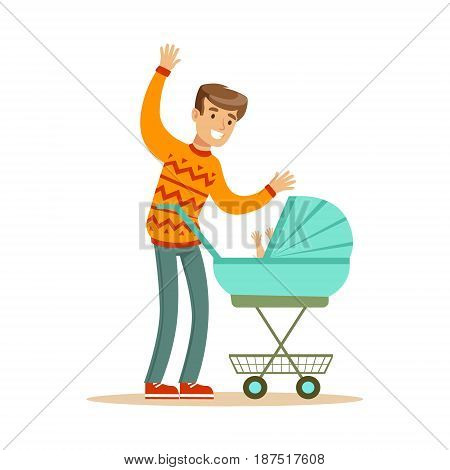 Young father walking with his newborn baby in a pram colorful character vector Illustration isolated on a white background