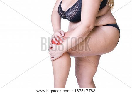 Knee pain fat woman with joint arthritis overweight female body isolated on white background with red spots