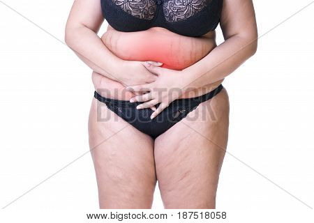 Fat woman with menstrual pain endometriosis or cystitis stomach ache overweight female body isolated on white background with red spots