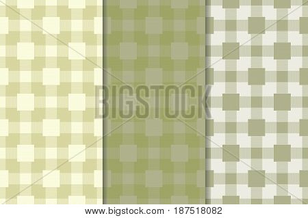Checkered plaid fabric. Olive green seamless pattern for textile. Vector illustration