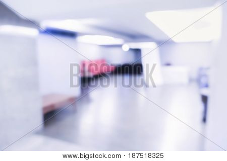 Abstract Blurred Background: Office Building Hallway ,business Centre,blue Tone