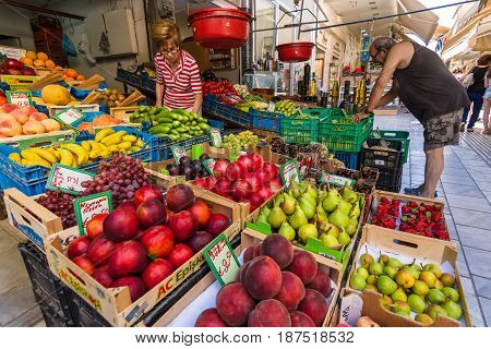 HERAKLION GREECE - JULY 09 2016: Crete. Street trade. Fresh fruits and vegetables on display. Heraklion - the largest city on the island.