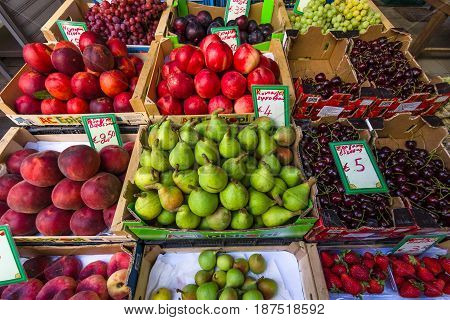 HERAKLION GREECE - JULY 09 2016: Crete. Street trade. Fresh fruit on display. Heraklion - the largest city on the island.