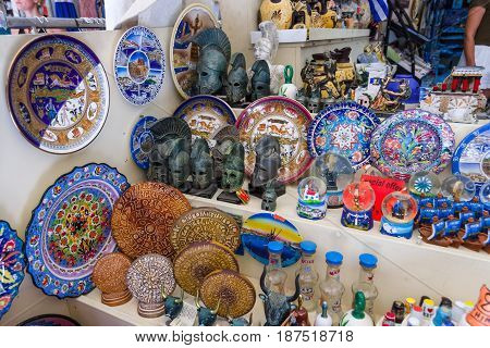 HERAKLION GREECE - JULY 09 2016: Crete. Traditional Cretan souvenirs and gifts. Heraklion - the largest city on the island.