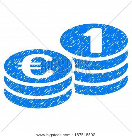 Grunge Euro Coins icon with grunge design and scratched texture. Unclean vector blue pictogram for rubber seal stamp imitations and watermarks. Draft sign symbol.