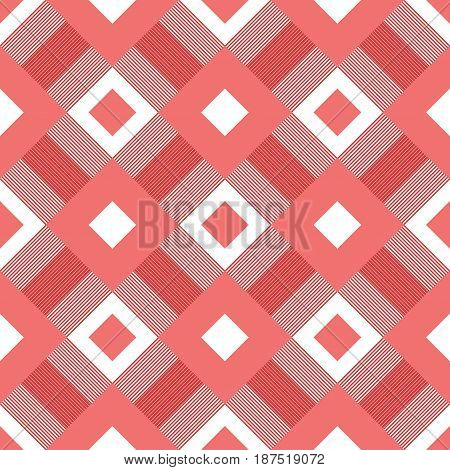 Checkered plaid fabric. Red seamless pattern for textile. Vector illustration