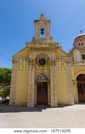 HERAKLION GREECE - JULY 09 2016: Crete. The temple of Icon of the Mother of God as part of a complex of buildings of Agios Minas Cathedral - Greek Orthodox Church. The residence of Archbishop of Crete.