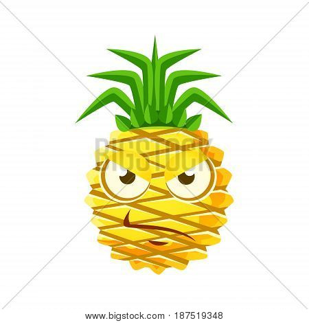 Sceptic pineapple face. Cute cartoon emoji character vector Illustration isolated on a white background